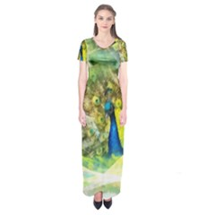 Peacock Digital Painting Short Sleeve Maxi Dress