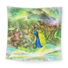 Peacock Digital Painting Square Tapestry (large)