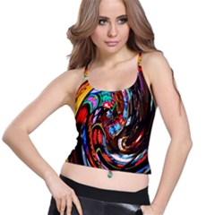 Abstract Chinese Inspired Background Spaghetti Strap Bra Top