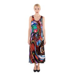 Abstract Chinese Inspired Background Sleeveless Maxi Dress