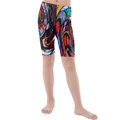 Abstract Chinese Inspired Background Kids  Mid Length Swim Shorts