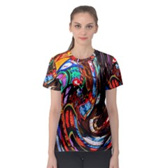 Abstract Chinese Inspired Background Women s Sport Mesh Tee