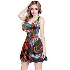 Abstract Chinese Inspired Background Reversible Sleeveless Dress