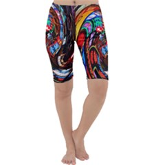 Abstract Chinese Inspired Background Cropped Leggings