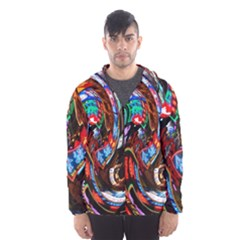 Abstract Chinese Inspired Background Hooded Wind Breaker (Men)