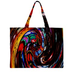 Abstract Chinese Inspired Background Zipper Mini Tote Bag