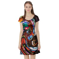 Abstract Chinese Inspired Background Short Sleeve Skater Dress