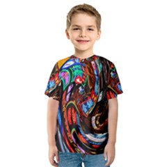 Abstract Chinese Inspired Background Kids  Sport Mesh Tee