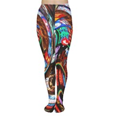 Abstract Chinese Inspired Background Women s Tights