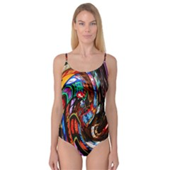 Abstract Chinese Inspired Background Camisole Leotard