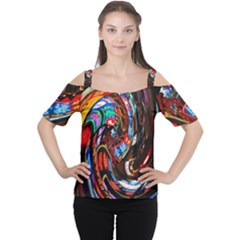 Abstract Chinese Inspired Background Women s Cutout Shoulder Tee