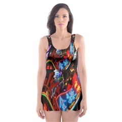 Abstract Chinese Inspired Background Skater Dress Swimsuit