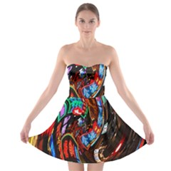 Abstract Chinese Inspired Background Strapless Bra Top Dress