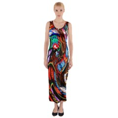 Abstract Chinese Inspired Background Fitted Maxi Dress