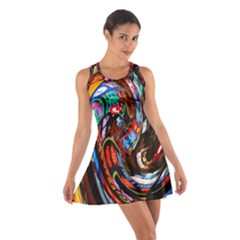 Abstract Chinese Inspired Background Cotton Racerback Dress