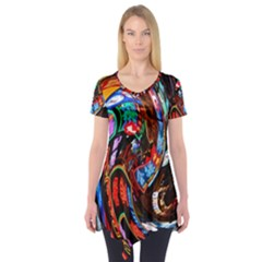 Abstract Chinese Inspired Background Short Sleeve Tunic