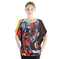 Abstract Chinese Inspired Background Blouse