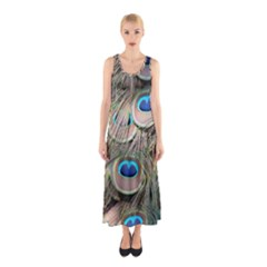 Colorful Peacock Feathers Background Sleeveless Maxi Dress