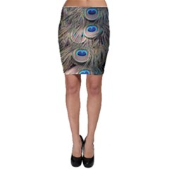 Colorful Peacock Feathers Background Bodycon Skirt