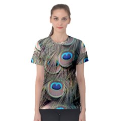 Colorful Peacock Feathers Background Women s Sport Mesh Tee