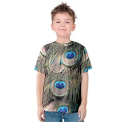Colorful Peacock Feathers Background Kids  Cotton Tee