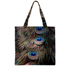 Colorful Peacock Feathers Background Grocery Tote Bag