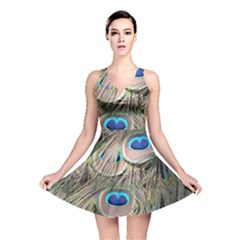 Colorful Peacock Feathers Background Reversible Skater Dress