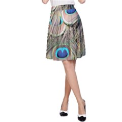 Colorful Peacock Feathers Background A Line Skirt