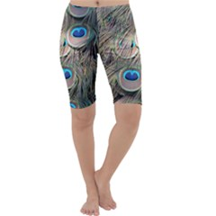 Colorful Peacock Feathers Background Cropped Leggings