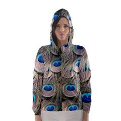 Colorful Peacock Feathers Background Hooded Wind Breaker (Women)
