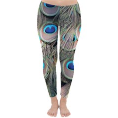 Colorful Peacock Feathers Background Classic Winter Leggings