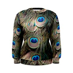 Colorful Peacock Feathers Background Women s Sweatshirt