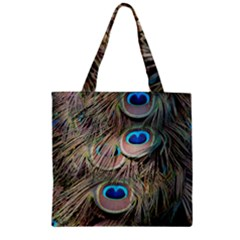 Colorful Peacock Feathers Background Zipper Grocery Tote Bag