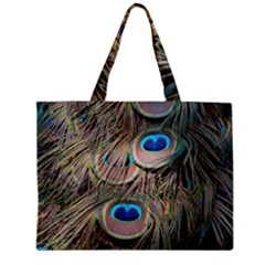 Colorful Peacock Feathers Background Zipper Mini Tote Bag
