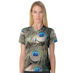 Colorful Peacock Feathers Background Women s V-Neck Sport Mesh Tee