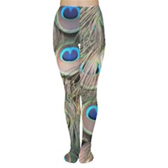 Colorful Peacock Feathers Background Women s Tights