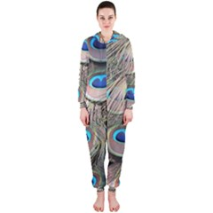 Colorful Peacock Feathers Background Hooded Jumpsuit (Ladies)