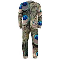 Colorful Peacock Feathers Background OnePiece Jumpsuit (Men)