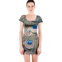 Colorful Peacock Feathers Background Short Sleeve Bodycon Dress
