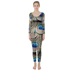 Colorful Peacock Feathers Background Long Sleeve Catsuit