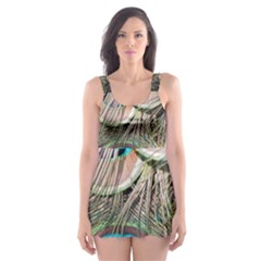 Colorful Peacock Feathers Background Skater Dress Swimsuit