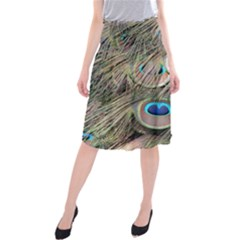Colorful Peacock Feathers Background Midi Beach Skirt