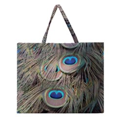 Colorful Peacock Feathers Background Zipper Large Tote Bag