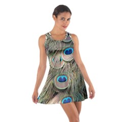 Colorful Peacock Feathers Background Cotton Racerback Dress