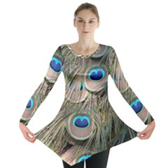 Colorful Peacock Feathers Background Long Sleeve Tunic