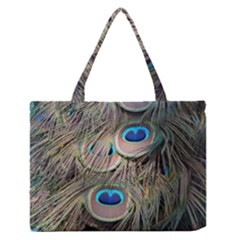 Colorful Peacock Feathers Background Medium Zipper Tote Bag