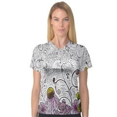 Abstract Pattern Women s V Neck Sport Mesh Tee