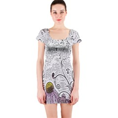 Abstract Pattern Short Sleeve Bodycon Dress