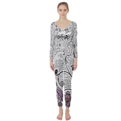 Abstract Pattern Long Sleeve Catsuit