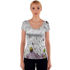 Abstract Pattern Women s V-Neck Cap Sleeve Top
